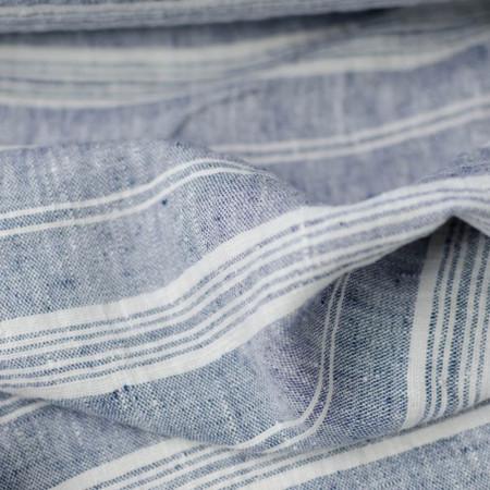 Lin lavé Océane à rayures bleues et blanches