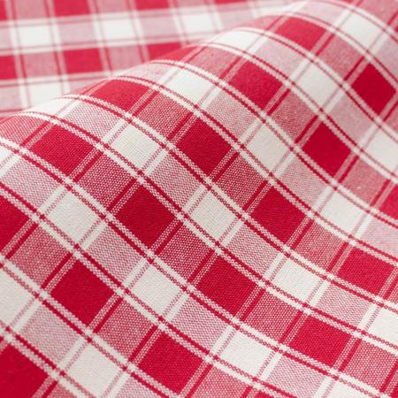Toile de coton sans teint Pauline à carreaux rouge et blanc cassé