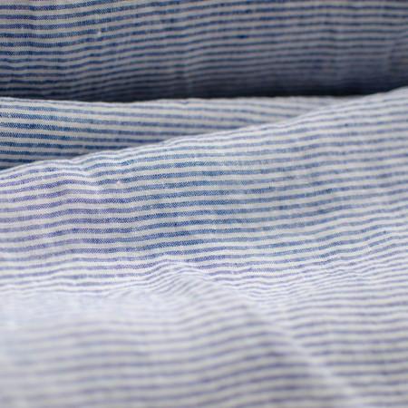 Lin lavé Camille à rayures fines bleues