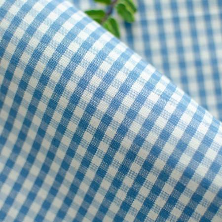 Toile de coton Appoline tissé teint Vichy Bleu et Blanc à carreau de 4 mm
