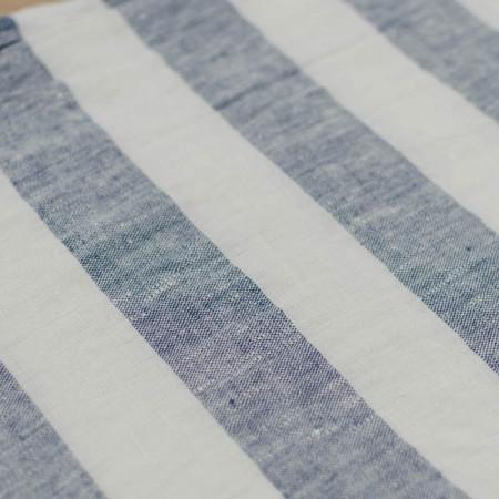 Lin lavé Marina à rayures bleues et blanches